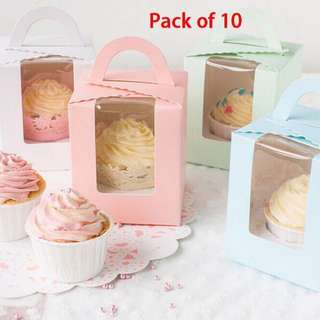 Brand New Light Blue Party Box For Cupcake - 10 qty
