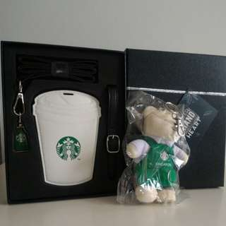 Starbucks Lanyard / Luggage Tag Gift Set and Teddy Bear Key Chain