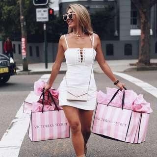 MINKPINK Shoreline Lace Up Dress White - Size S/10 RRP $100