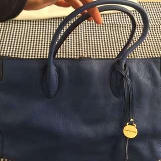 Rabeanco 藍色 手挽袋   返工袋 真皮