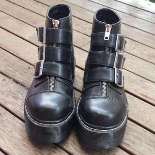 WEGO black belted platform boots