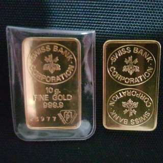 Old Swiss Gold bar 10g in 999.9