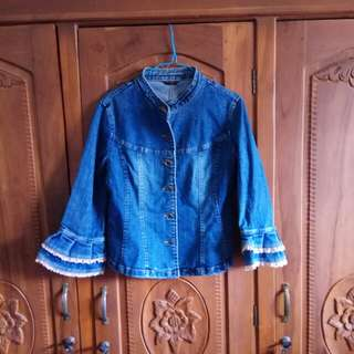 Jaket Jeans Kombinasi Brokat