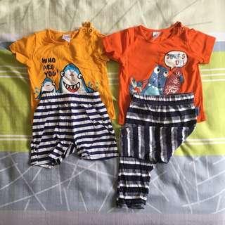 Anakku 2 sets of baby top and bottom