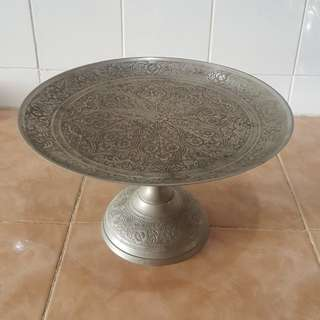 Antique silver plated brass tray pahar