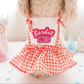 Cute dog checkered dress clothes