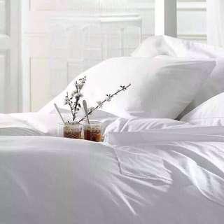 100% COTTON Plain White Bedsheets Set