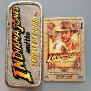 Indiana Jones, Patch & 90s Japan Phone card.
