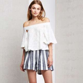 Staple The Label - navy striped high waist shorts