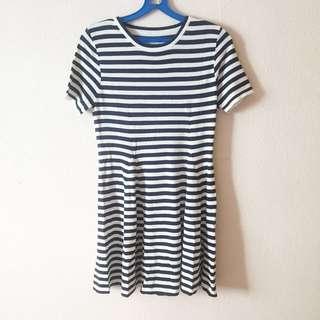 Navy Blue Stripes Ribbon Skater Dress