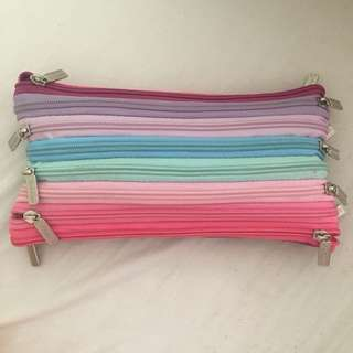 Pastel rainbow zipper pencil case