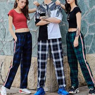Checkered two stripes track pants UNISEX