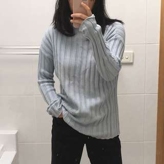 Baby blue cotton rib high neck sweater