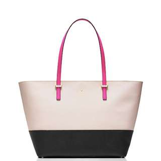 Kate Spade White, Black with Pink Handles Tote Bag