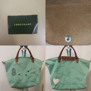 Longchamp Le Pliage Cage Be Happy Tote Bag Lagoon (limited edition 2015) embroidery bag