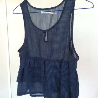 Boutique Blue Top - Sheer Size S