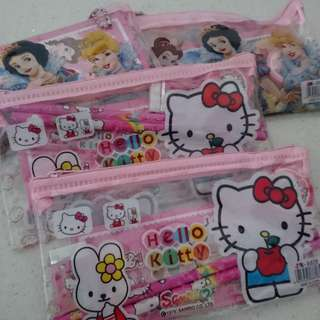 Stationery Sets for Children (x4) - Hello Kitty and Disney Princesses