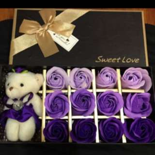 Brand new royal purple soap flowers