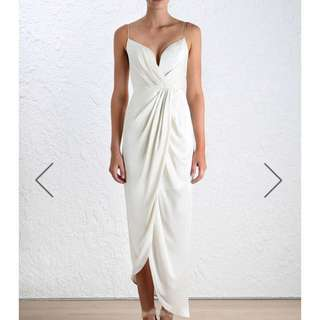 Zimmermann Ivory Sueded Silk Plunge Long Draped Dress