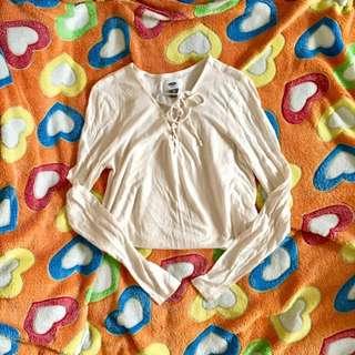 Old Navy Cream Criss Cross long sleeves
