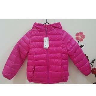 兒童 輕量連帽羽絨外套 保暖外套 附收納袋 衣標140cm 實際約120cm