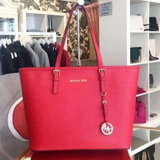 MK Michael Kors red leather bag