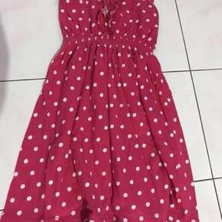 Pink dress polkadot