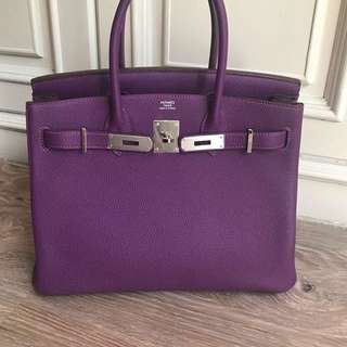Authentic hermes birkin 30 anemone togo phw stamp R