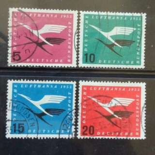 [lapyip1230] 西德 1955年 漢莎航空戰後復航紀念 舊票全套 Set VFU 市價$150+