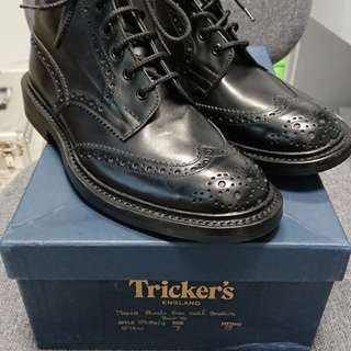 平放全新Tricker's Stow boot black calf UK7 (alden viberg crockett jones red wing)