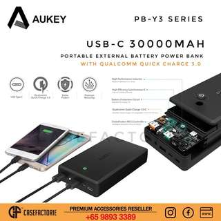 Aukey PB-Y3 30000mAh USB-C Portable External Battery Power Bank with Qualcomm Quick Charge 3.0
