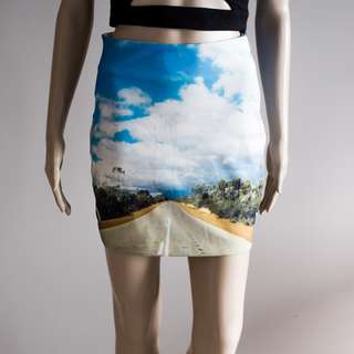 Amazing road blue digital print retro vintage mini skirt sz S 6-8