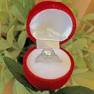 Silver engagement/wedding ring