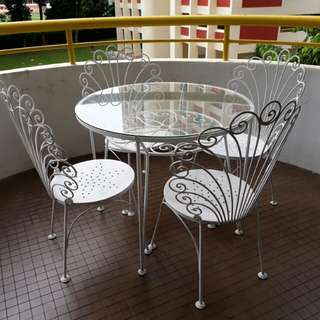 gorgeous vintage metal table and chair floral set