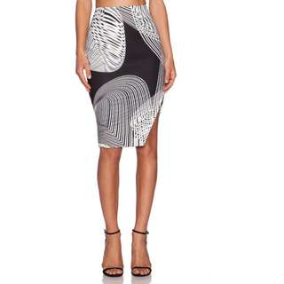 NEW with tags Keepsake 'Distraction' black white scuba skirt S or 8 work