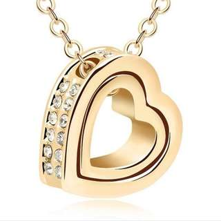 Double Heart 18K Plated Necklace