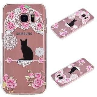 (包郵)優雅鳥籠貓圖案 包邊 軟邊 手機殼 電話殼 手機套 For 三星Galaxy S7