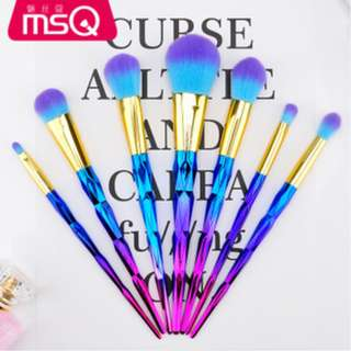 7pcs Rainbow Makeup Brush Set MSQ