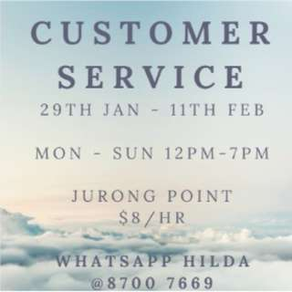 LIMITED SLOTS!! CUSTOMER SERVICE @ WEST