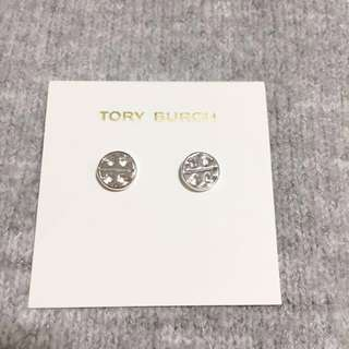 Tory Burch Logo Stud Earrings Silver 銀色圓形耳環