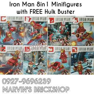 For Sale Iron Man 8in1 Minifigures with FREE Hulk Buster or Iron Man Mech Building Blocks Toy