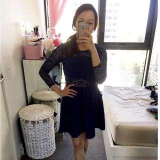 H&M Navy Lace Dress Size 8