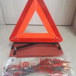 Car Jumper Cables and Warning Triangle