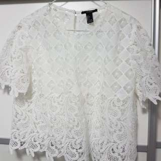 🚚 F21 white lace top