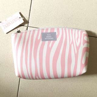 Pink and white pouch