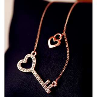 Key of Heart 18K Gold Plated Necklace