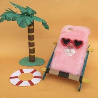 泰國設計師手工製作 毛絨絨粉紅貓咪🐱💕iPhone 7手機殼