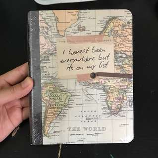 Brand New Typo Notebook - World Map/ Fly Fly Away Travel Journal