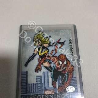 Marvel sketch card spider-man ms. Marvel