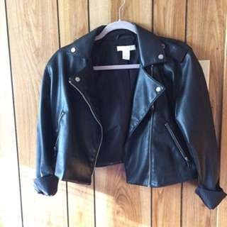 H&M cropped leather jacket size M